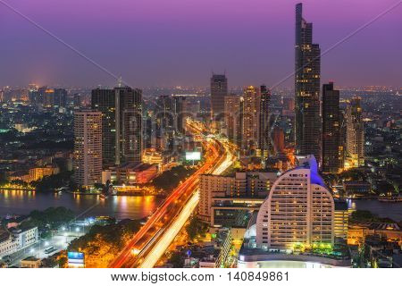 Twilight scene of Bangkok City of Thailand Metropolis of Thailand