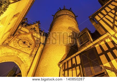 Auxerre Clock Tower at night. Auxerre Burgundy France