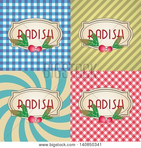 Four Types Of Retro Textured Labels For Radish Eps10