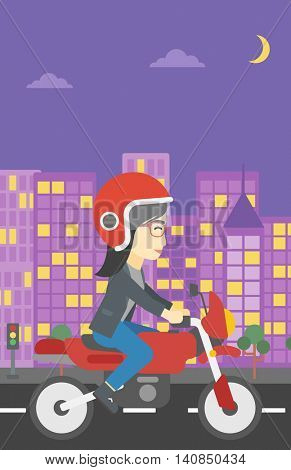 An asian young woman in helmet riding a motorcycle on the background of night city. Woman driving a motorbike on a city road. Vector flat design illustration. Vertical layout.