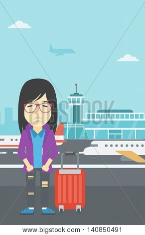 An asian woman frightened by future flight. Woman standing at airport and suffering from fear of flying. Phobia, fear of flying concept. Vector flat design illustration. Vertical layout.