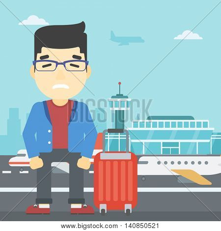 An asian man frightened by future flight. Young man suffering from fear of flying. Phobia, fear of flying concept. Vector flat design illustration. Square layout.