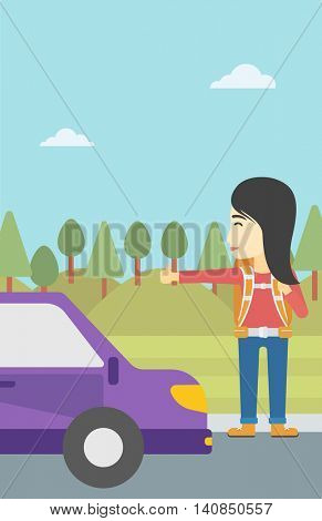 An asian young woman with backpack hitchhiking on roadside. Hitchhiking woman trying to stop a car on the road. Vector flat design illustration. Vertical layout.