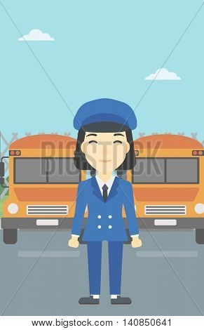 An asian young school bus driver standing in front of yellow bus. Vector flat design illustration. Vertical layout.