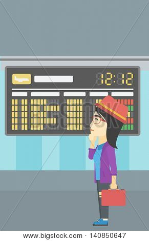 An asian young woman with briefcase looking at departure board at the airport. Passenger standing at the airport in front of departure board. Vector flat design illustration. Vertical layout.