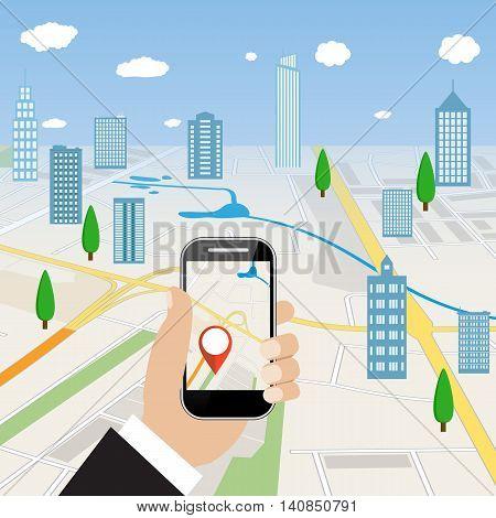 Hand holding mobile phone with navigation application. Mobile GPS navigation service. Vector illustration in flat design