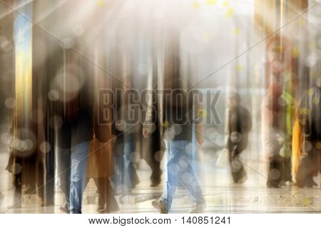 background image of abstract blurry people walking in busy street