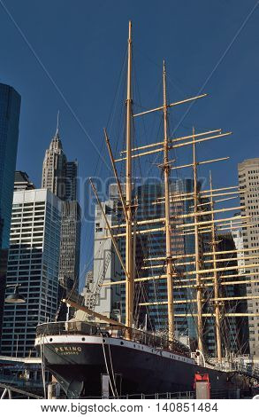 New York City USA - December 20 2015: The Peking a four-masted barque sailing ship docked at South Street Seaport in NYC.