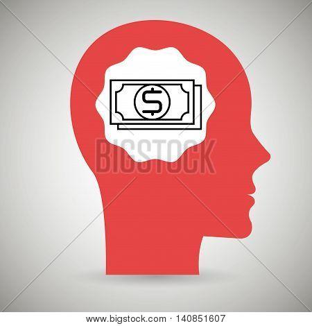 silhouette head bills dollar vector illustration eps 10