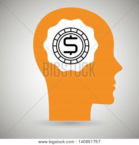 silhouette head currency dollar vector illustration eps 10