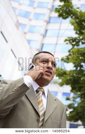 Jovem empresário, falando no telefone celular