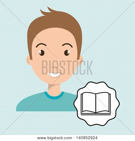 man adul young book vector illustrationeps 10