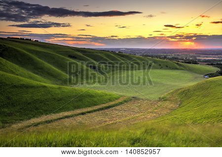 White Horse Hill, Uffington in Oxfordshire at sunset