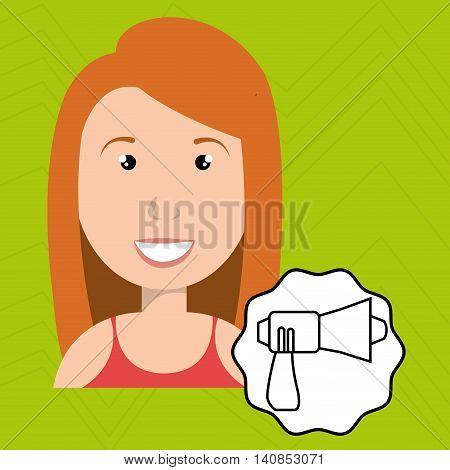 woman adul megaphone speaker vector illustration esp 10