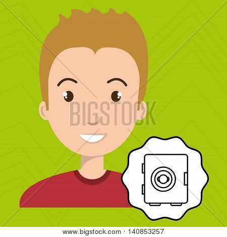 man adul young safe box vector illustration