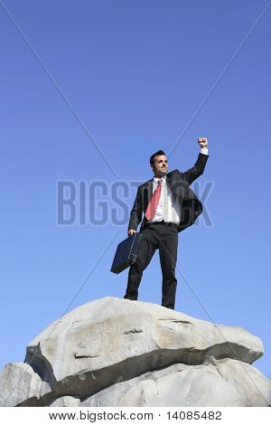 Businessman on top of rock celebrating