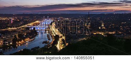 Panorama of Rouen at sunset. Rouen Normandy France