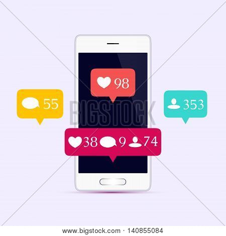 Like, comment, follower icons set. Social media buttons on smartphone display. Notification icons. Social Media Concept. Isolated vector illustration.