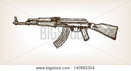 Automatic rifle sketch style vector illustration. Muchine gun. Old hand drawn engraving imitation.