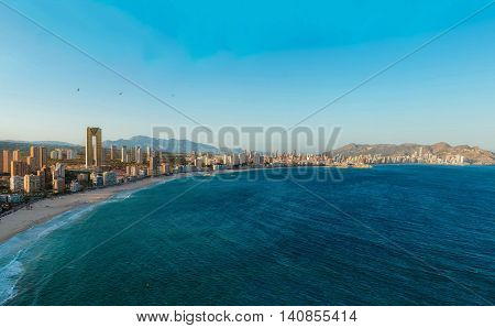 View Of The Coastline In Benidorm At Sunset