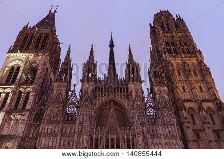 Rouen Cathedral Notre-Dame at sunrise. Rouen Normandy France.