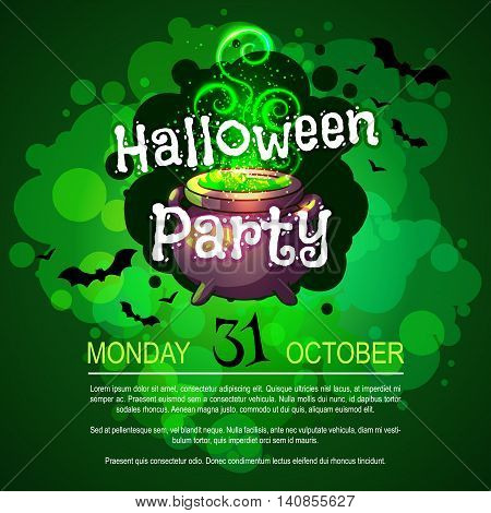 Flyer with witch's cauldron for Halloween party. Vector template invitation in dark green tones.