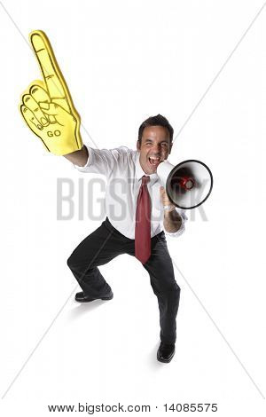 Businessman with megaphone and foam finger