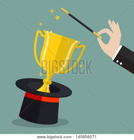 Business hand with champion cup. Vector illustration