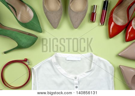 Women Clothing Set And Accessories On Light Background.top View,