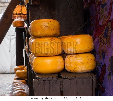 Cheese on the counter at the market