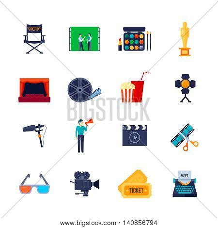 Filmmaking and movie watching attributes flat icons collection with camera film bobbin and 3d glasses isolated vector illustration