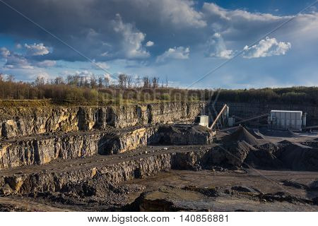 Crushed stone factory in a quarry . .