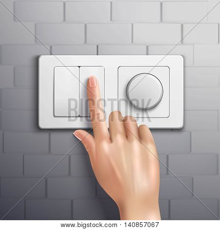 Realistic hand pressing switch with forefinger on grey brick wall vector illustration