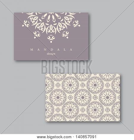 Set of ornamental business cards with mandala and pattern visiting template card white light violet colors.Vintage decorative elements.Indian asian arabic islamic ottoman motif. Vector