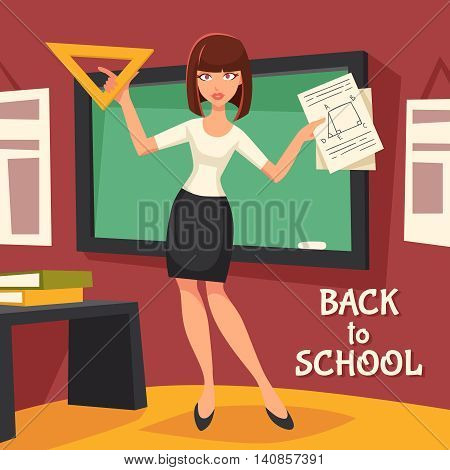 Geometry Teacher Flat Background. Geometry Teacher Vector Illustration.  Back To School Design. School Teacher Decorative Illustration.