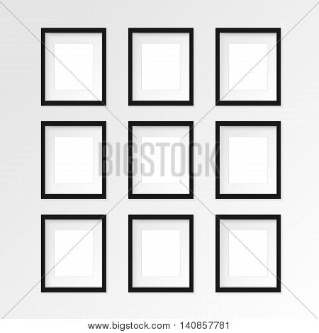 Set of 9 nine Black vertical photo frame on gray wall with realistic shadows. Vector illustration. 3 rows and 3 columns