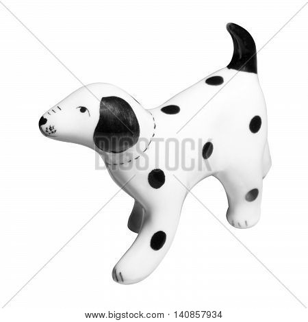 Dalmatian Dog ceramic figurine isolated on white with clipping path.