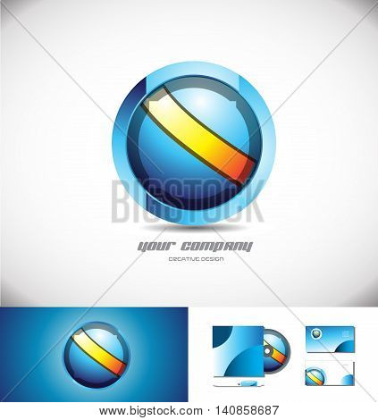 Vector company logo icon element template 3d design blue orange sphere circle games media corporate business