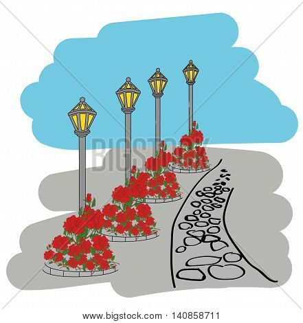 Lamppost alley. flowerbed with flowers in the background. illustration.