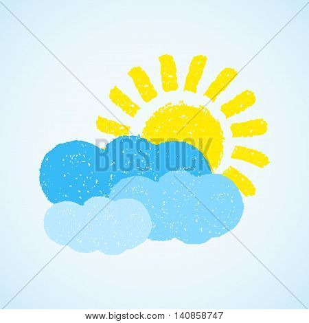 Sun and cloud. Hand painted with oil pastel crayons. Weather forecast, summertime, climate, meteorology concept. Graphic design element for poster, greeting card, scrapbooking, children book