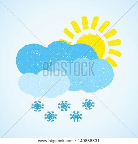 Sun, cloud and snow. Hand painted with oil pastel crayons. Weather forecast, winter, climate, meteorology concept. Graphic design element for poster, greeting card, scrapbooking, children book