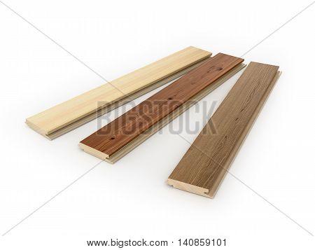 Set laminate planks on a white background. 3d illustration