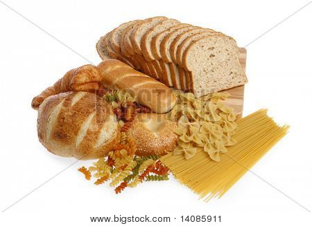 Bread and pasta food group isolated on white background