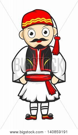 Vector Cartoon Greek Parade Soldier Costume isolated on white background