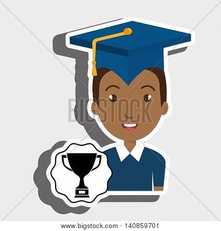 student graduation cap trophy vector illustration eps 10