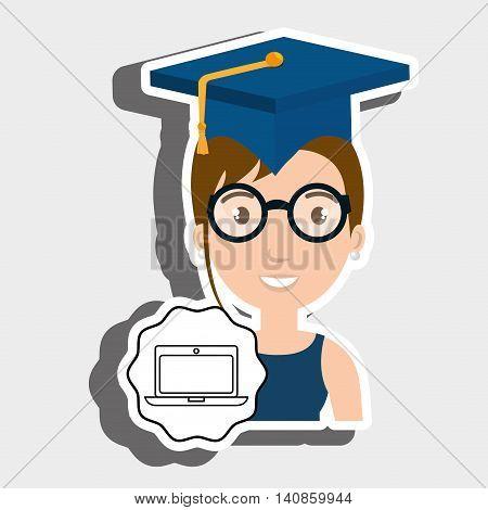 student graduation cap laptop vector illustration eps 10