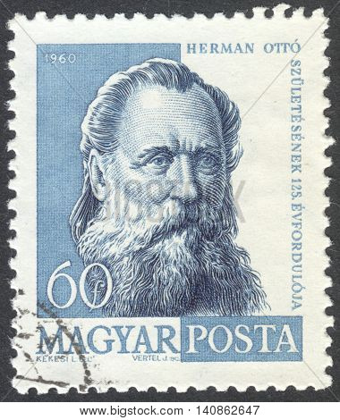 MOSCOW RUSSIA - CIRCA APRIL 2016: a post stamp printed in HUNGARY shows a portrait of Otto Herman circa 1960