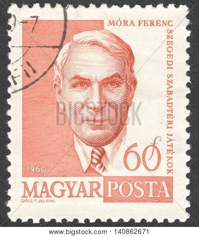 MOSCOW RUSSIA - CIRCA APRIL 2016: a post stamp printed in HUNGARY shows a portrait of Ferenc Mora circa 1960