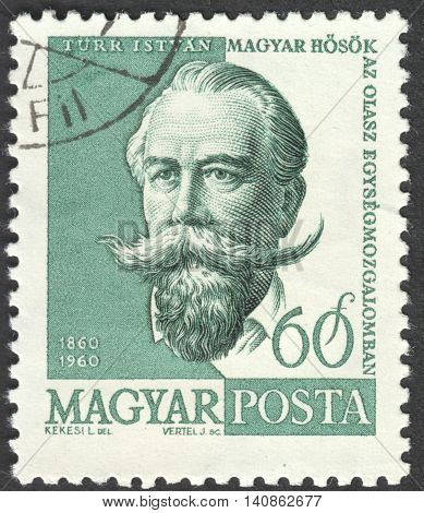 MOSCOW RUSSIA - CIRCA APRIL 2016: a post stamp printed in HUNGARY shows a portrait of Istvan Turr circa 1960