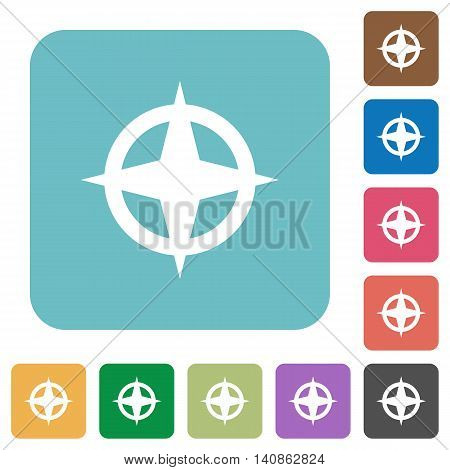 Flat map directions icons on rounded square color backgrounds.